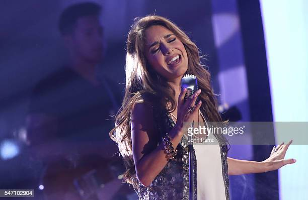 Anahi performs during Univisions Premios Juventud Awards Rehearsals Day 3 at Bank United Center on July 13 2016 in Miami Florida