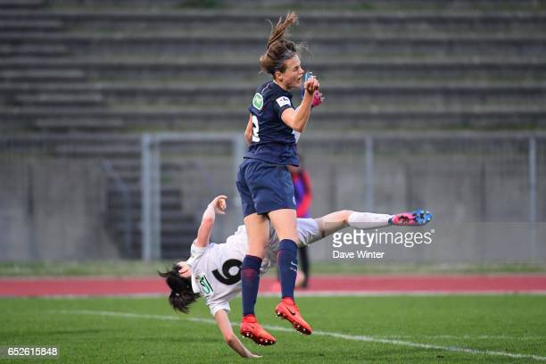 Anaig Butel of Juvisy and Irene Paredes of PSG during the Women's French Cup match between Juvisy and Paris Saint Germain on March 12 2017 in...
