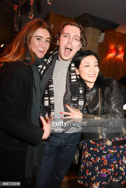 Anais Aidoud humorist Alex Vizorek and Malika Lambert attend 'Apero Mecs A Legumes' Party Hosted by Grand Seigneur Magazine at the Bistrot Marguerite...