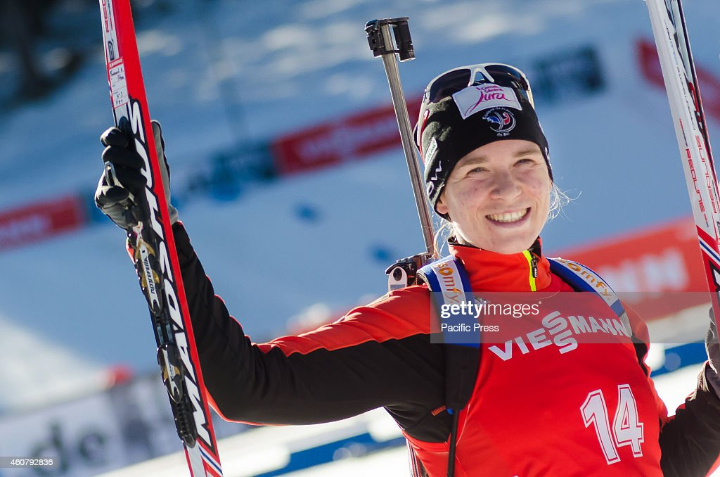 Anais Bescond (FRA) celebrating her second place at the Biathlon World Cup 12,5km Mass Start Women on Pokljuka 2014.
