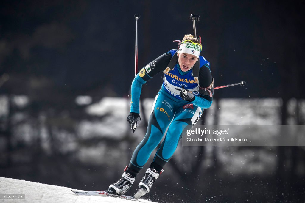 Anais Bescond of France competes during the 10 km women's Pursuit on March 4, 2017 in Pyeongchang-gun, South Korea.