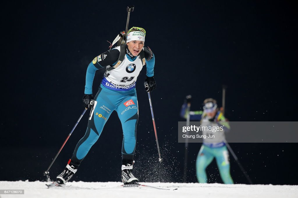 Anais Bescond of France competes during the Woman 7.5km Sprint during the BMW IBU World Cup Biathlon 2017 - test event for PyeongChang 2018 Winter Olympic Games at Alpensia Biathlon Centre on March 2, 2017 in Pyeongchang-gun, South Korea.