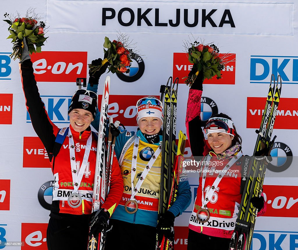 Anais Bescond of France takes 2nd place, Kaisa Makarainen of Finland takes 1st place, <a gi-track='captionPersonalityLinkClicked' href=/galleries/search?phrase=Nadezhda+Skardino&family=editorial&specificpeople=4105956 ng-click='$event.stopPropagation()'>Nadezhda Skardino</a> of Belarus takes 3rd place during the IBU Biathlon World Cup Men's and Women's Mass Start on December 21, 2014 in Pokljuka, Slovenia.