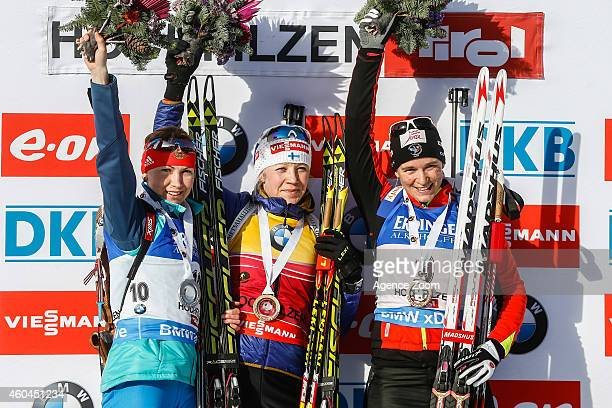 Anais Bescond of France takes 3rd place Kaisa Makarainen of Finland takes 1st place and Ekaterina Glazyrina of Russia takes 2nd place during the IBU...