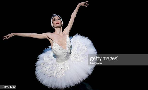 Anais Chalendard of the English National Ballet performs during a dress rehearsal of Swan Lake at the Coliseum on August 3 2012 in London England