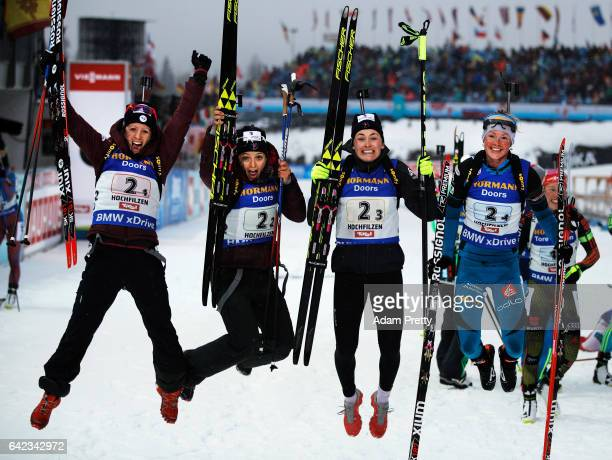 Anais Chevalier Celia Aymonier Justine Braisaz and Marie Dorin Habert of France celebrate winning the Bronze medal in the Women's 4x 6km relay...