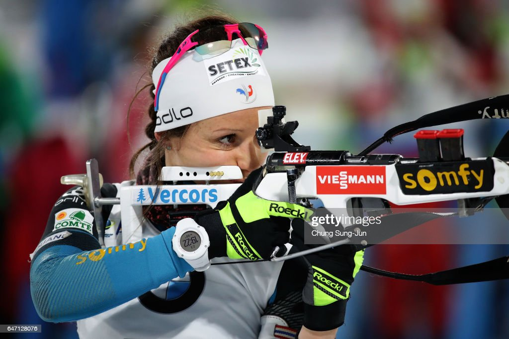 Anais Chevalier of France at the zeoring for the Woman 7.5km Sprint during the BMW IBU World Cup Biathlon 2017 - test event for PyeongChang 2018 Winter Olympic Games at Alpensia Biathlon Centre on March 2, 2017 in Pyeongchang-gun, South Korea.