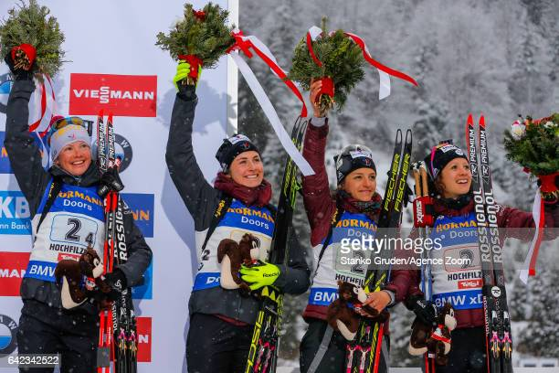 Anais Chevalier of France wins the bronze medal Celia Aymonier of France wins the bronze medal Justine Braisaz of France wins the bronze medal Marie...