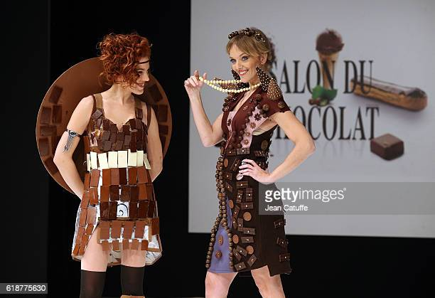 Anais Delva and Maya Lauque walk the runway during the Chocolate Fashion Show as part of Salon du Chocolat Paris 2016 at Parc des Expositions Porte...