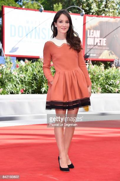 Anais Demoustier walks the red carpet ahead of the 'The House By The Sea ' screening during the 74th Venice Film Festival at Sala Grande on September...