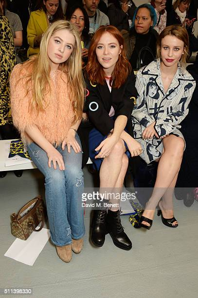 Anais Gallagher Angela Scanlon and Billie JD Porter attend the SIBLING show during London Fashion Week Autumn/Winter 2016/17 at Brewer Street Car...
