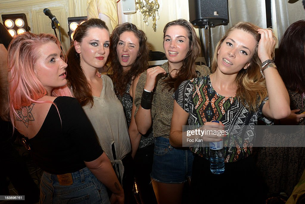 Anais Vandevyvere, Julie Gomel, Lucie Petre, Louise Basilien and Katty Besnard from the Plastiscines band attend the the Plastiscines private concert hosted by MTV Pulse at The Carmen Club on October 9, 2013 in Paris, France.