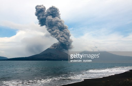 Anak Krakatau eruption, seen from nearby island.