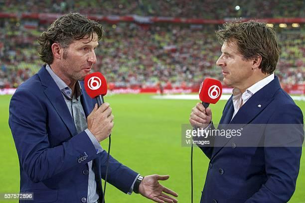 analist Ronald Waterreus of SBS 6 interviewer Twan van Peperstraten of SBS 6 during the International friendly match between Poland and Netherlands...