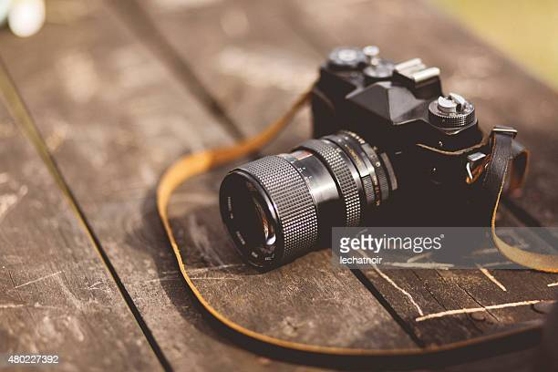 analog película de cámara en la tabla