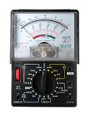 """""""Old style analog multimeter to test voltage, current and resistance in an electrical circuit."""""""