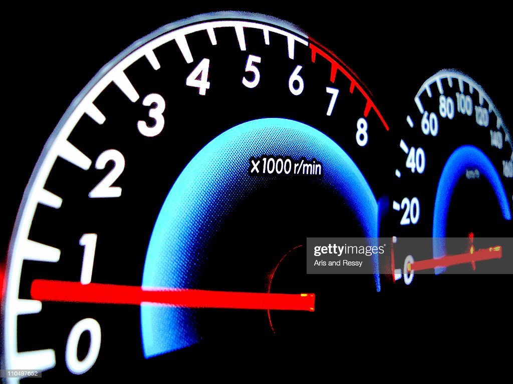 Analog Speedometer with Glowing Indicator