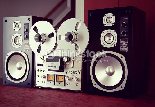 8f7d5b2b110d Analog Stereo Open Reel Tape Deck Recorder Vintage with Speakers : Stock  Photo