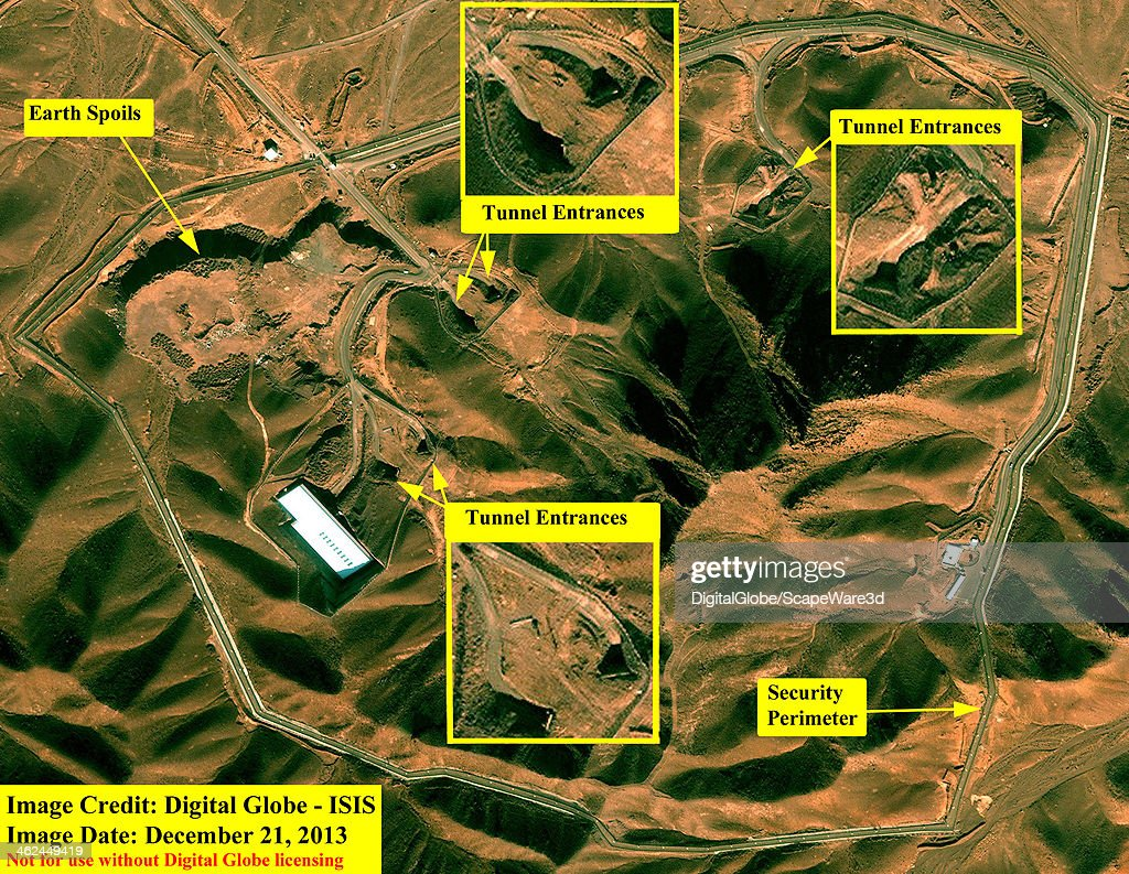 ISIS analysis of DigitalGlobe Imagery showing the Fordow Fuel Enrichment Plant on December 21st, 2013. (Photo DigitalGlobe/ISIS via Getty Images).
