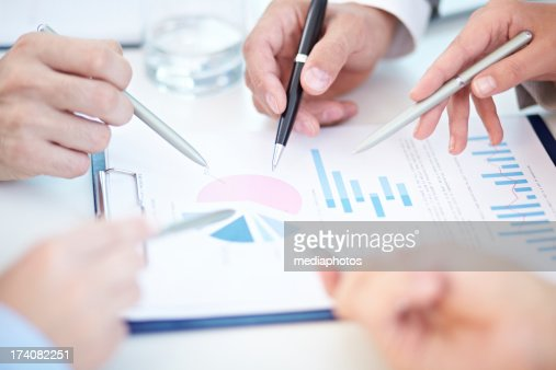 Analysis of financial report : Stock Photo