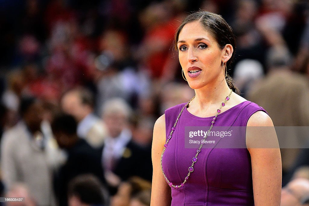 ESPN analyst and former player, Rebecca Lobo prior to the National Final game of the 2013 NCAA Division I Women's Basketball Championship at New Orleans Arena on April 9, 2013 in New Orleans, Louisiana between the Connecticut Huskies and the Louisville Cardinals.