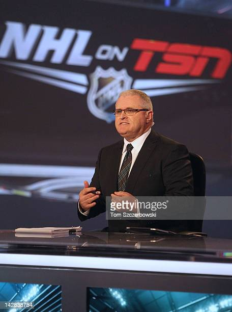 TSN analyst Bob McKenzie speaks during coverage of the NHL Draft Lottery on April 10 2012 at the TSN Studios in Toronto Ontario Canada