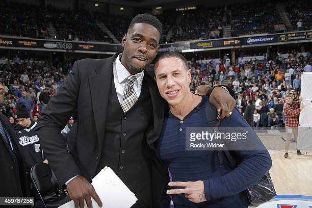 NBA analyst Chris Webber and former NBA player Mike Bibby during the game between the Chicago Bulls and Sacramento Kings on November 20 2014 at Sleep...