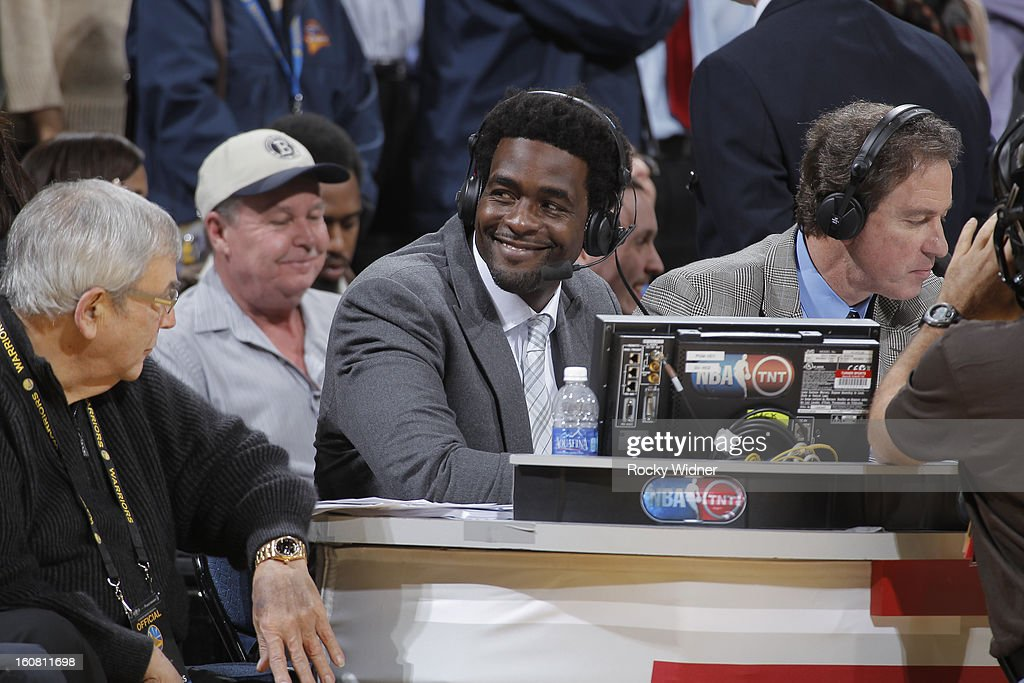 TNT analyst Chris Webber during the game against the Dallas Mavericks and Golden State Warriors on January 31, 2013 at Oracle Arena in Oakland, California.
