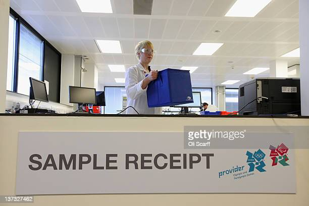 Analyst Claire Taylor receives a batch of samples in the antidoping laboratory which will test athlete's samples from the London 2012 Games on...