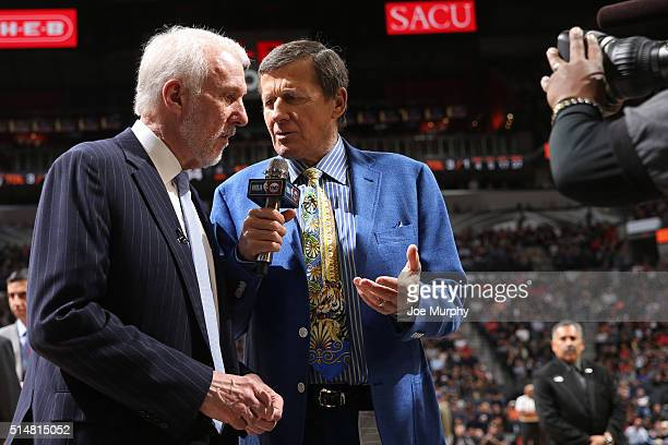 Analyst Craig Sager interviews Gregg Popovich of the San Antonio Spurs during the game against the Chicago Bulls on March 10 2016 at the ATT Center...