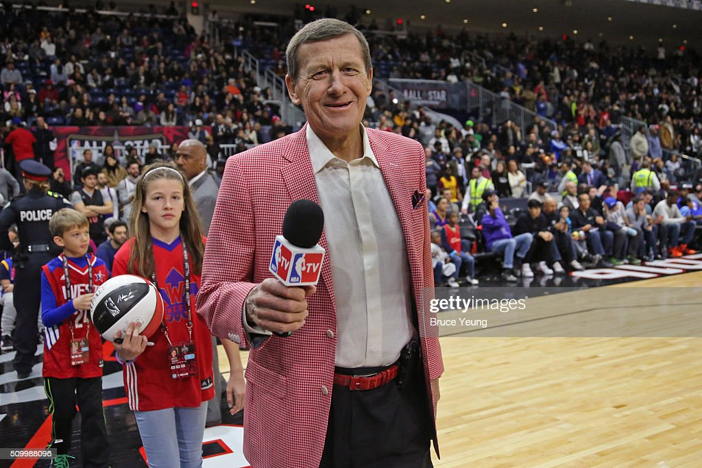 Analyst, <a gi-track='captionPersonalityLinkClicked' href=/galleries/search?phrase=Craig+Sager&family=editorial&specificpeople=617407 ng-click='$event.stopPropagation()'>Craig Sager</a> poses for a photo during the NBA All-Star Practice as part of 2016 All-Star Weekend at the Ricoh Coliseum on February 13, 2016 in Toronto, Ontario, Canada.