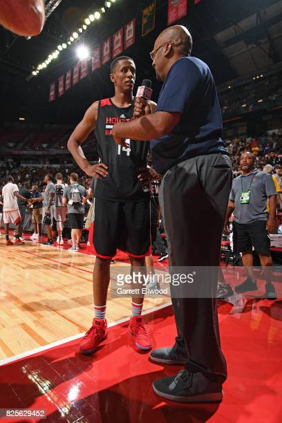 Analyst Dennis Smith interviews Troy Williams of the Houston Rockets after the 2017 NBA Las Vegas Summer League game against the Phoenix Suns on July...