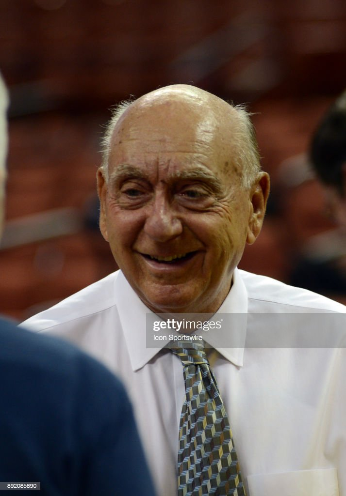 ESPN analyst Dick Vitale greets fans prior to Texas Longhorns 59 - 52 loss to the Michigan Wolverines on December 12, 2017 at the Frank Erwin Center in Austin, TX.