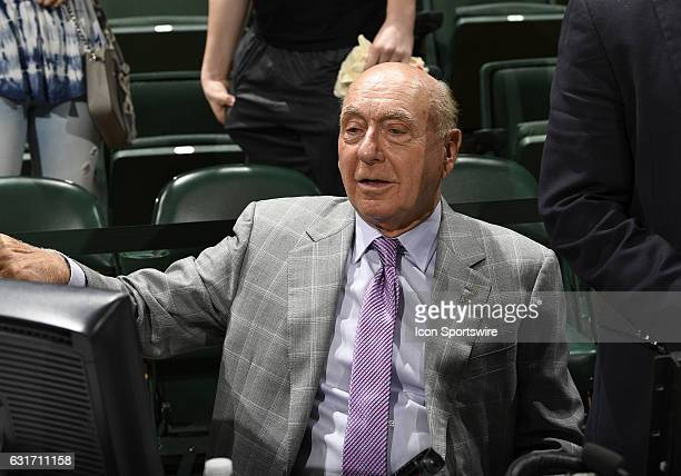 ESPN analyst Dick Vitale relaxes before an NCAA basketball game between the University of Notre Dame Fighting Irish and the University of Miami...