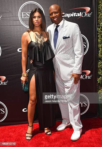 NBA analyst Kenny Smith with wife Gwendolyn Osborne attend The 2015 ESPYS at Microsoft Theater on July 15 2015 in Los Angeles California