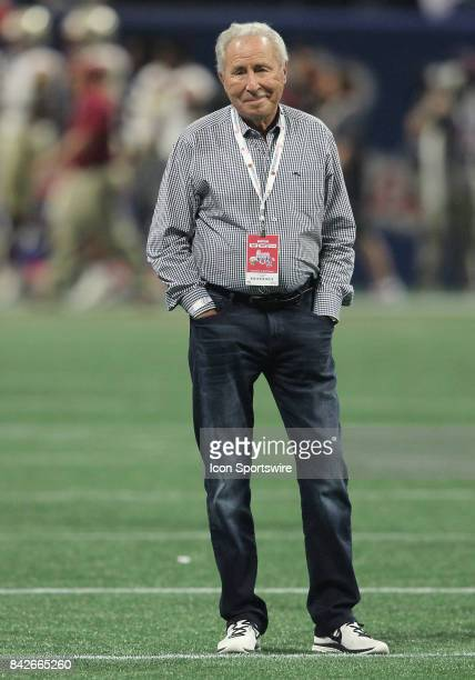 ESPN analyst Lee Corso watches warm ups during the ChickfilA Kickoff Classic between the Alabama Crimson Tide and the Florida State Seminoles...