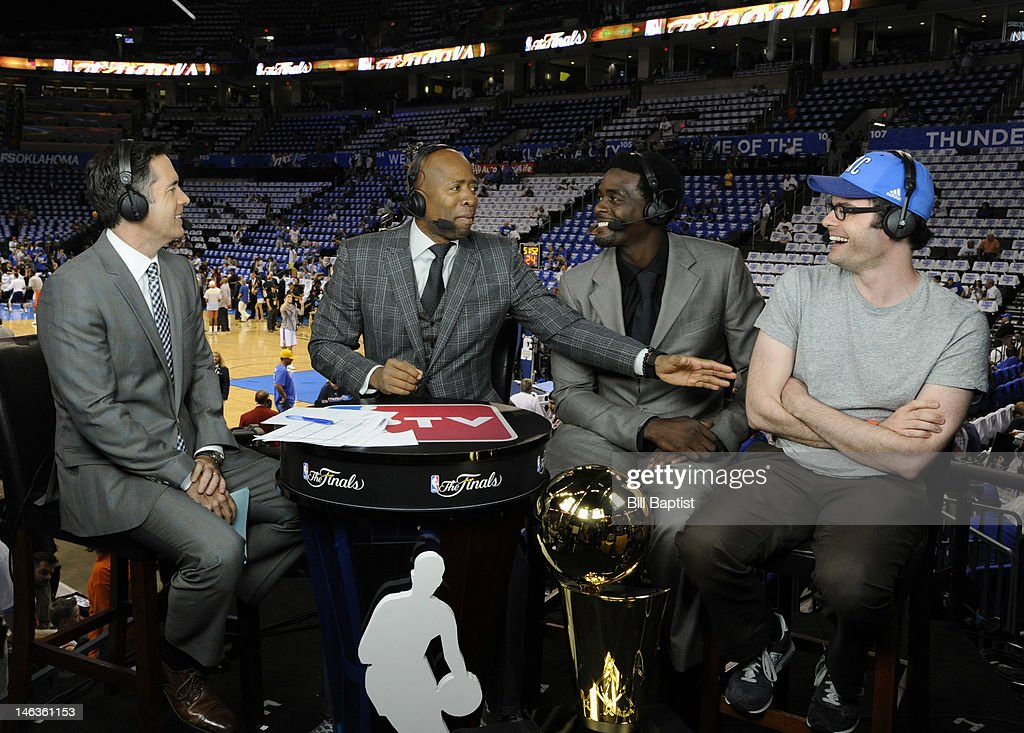 TV analyst Matt Winer, Kenny Smith, Chris Webber, (L to R) interview Bill Hader of Saturday Night Live (far right) prior to Game Two of the 2012 NBA Finals between the Miami Heat and Oklahoma City Thunder at Chesapeake Energy Arena on June 14, 2012 in Oklahoma City, Oklahoma.