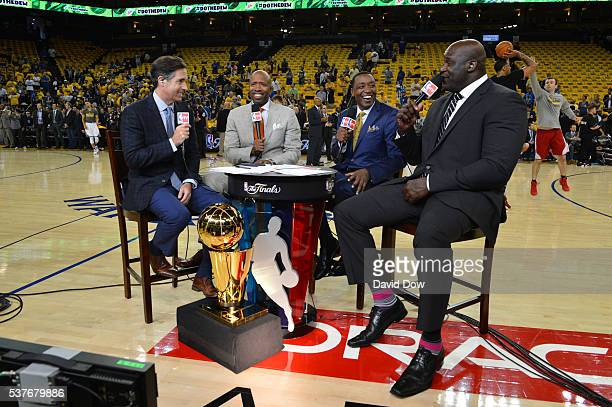 Analyst Matt Winer Kenny Smith Isiah Thomas and Shaquille O'Neal does pregame prior to the Cleveland Cavaliers against the Golden State Warriors...