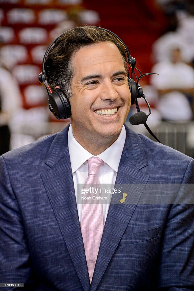 NBA TV analyst <a gi-track='captionPersonalityLinkClicked' href=/galleries/search?phrase=Matt+Winer&family=editorial&specificpeople=7033466 ng-click='$event.stopPropagation()'>Matt Winer</a> takes part in a broadcast before the San Antonio Spurs played the Miami Heat during Game Seven of the 2013 NBA Finals on June 20, 2013 at American Airlines Arena in Miami, Florida.