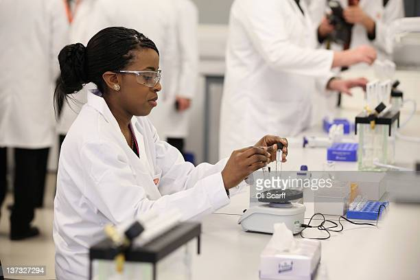 Analyst Myriam Kabu works in the antidoping laboratory which will test athlete's samples from the London 2012 Games on January 19 2012 in Harlow...