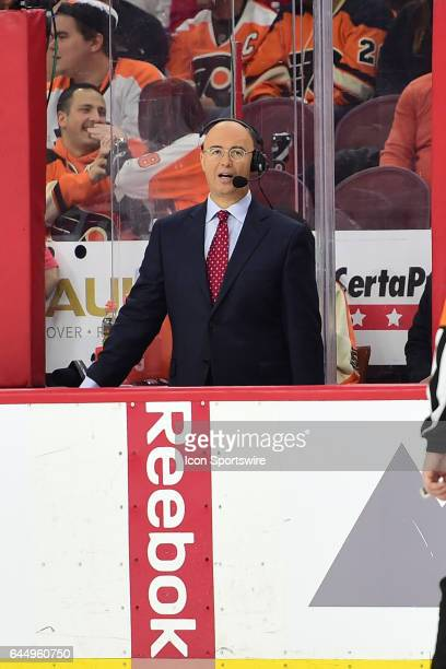 NHL analyst Pierre McGuire looks on during a National Hockey League game between the Washington Capitals and the Philadelphia Flyers on February 22...