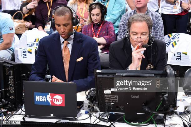 Analyst Reggie Miller broadcasts during Game Four of the Western Conference Quarterfinals between the LA Clippers and the Utah Jazz during the 2017...