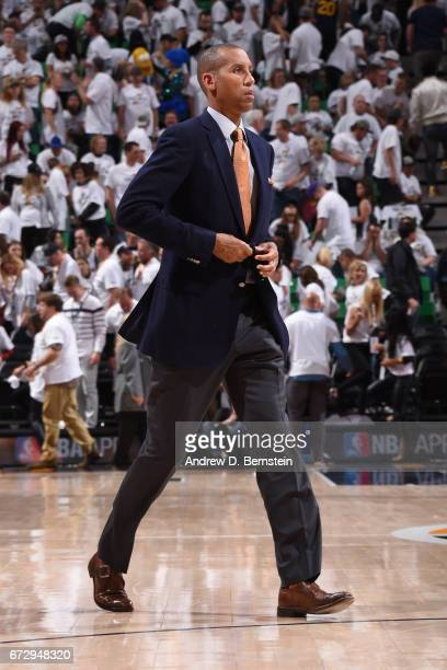 Analyst Reggie Miller walks across the court during Game Four of the Western Conference Quarterfinals between the LA Clippers and the Utah Jazz...