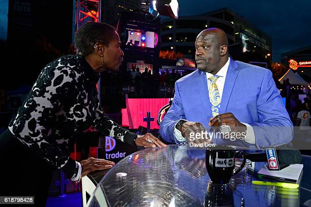 Analyst Shaquille O'Neal talks with Executive Director of the National Basketball Players Association Michele Roberts on October 25 2016 before the...