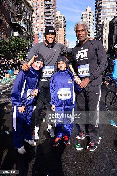 Analyst Steve Smith and NBA Legend Charles Oakley poses for a photo in the 2014 NBA AllStar Relay during the TCS MYC Marathon on November 2 2014 in...