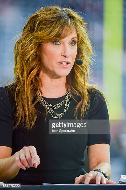ESPN analyst Suzy Kolber on the air before the NFL AFC Wild Card game between the Oakland Raiders and Houston Texans on January 7 at NRG Stadium in...
