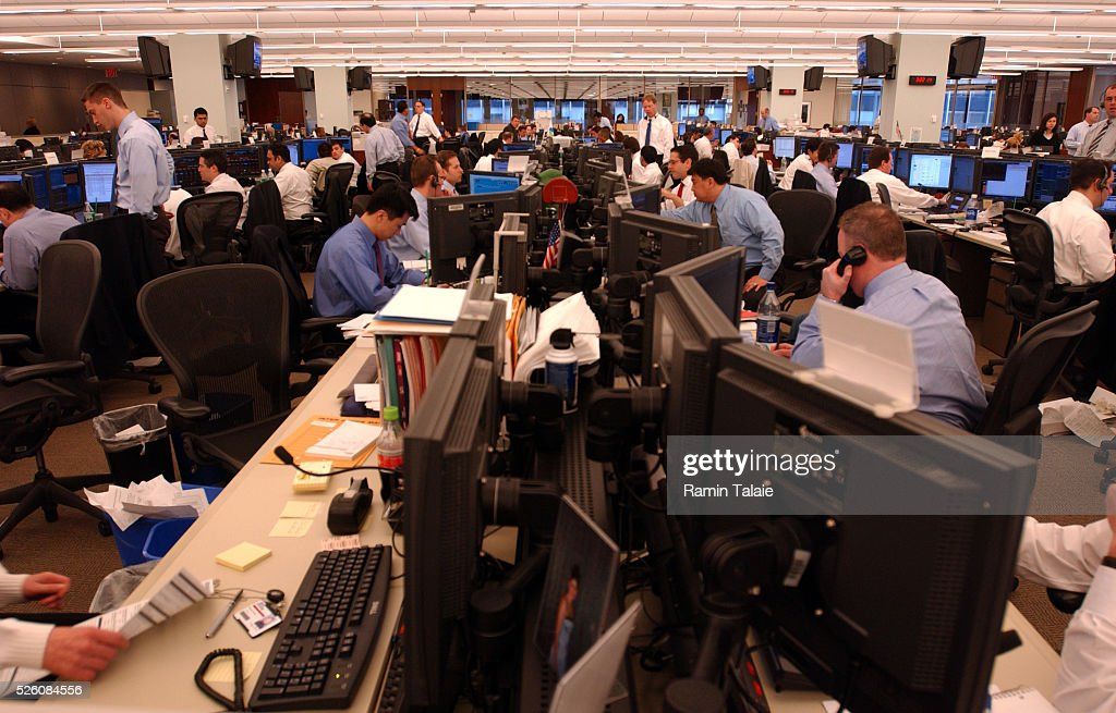 Wall Street Trading. Analysts And Traders On The Trading Floor Of Bear  Stearns, Monitor Financial Market Activities On
