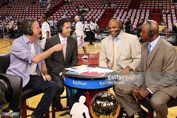 Analysts Bill Simmons Matt Winer Charles Barkley and Greg Anthony disscus the game between the Oklahoma City Thunder and the Miami Heat after Game...