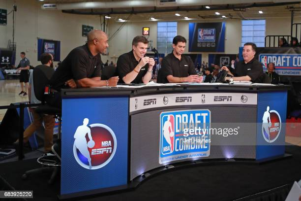 Analysts break down players during the NBA Draft Combine Day 2 at the Quest Multisport Center on May 12 2017 in Chicago Illinois NOTE TO USER User...
