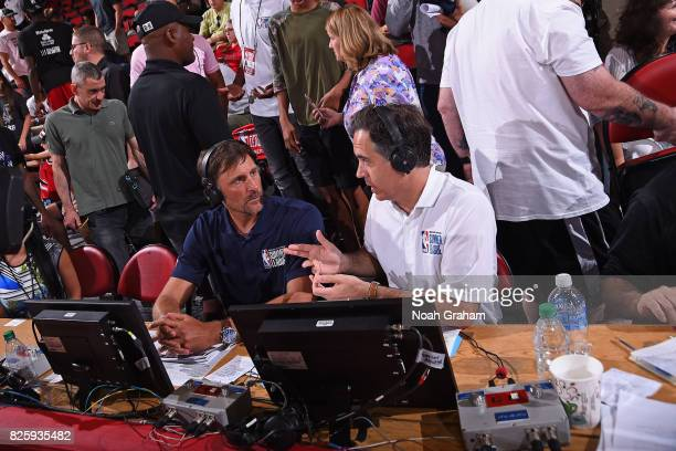 Analysts Brent Barry and Matt Winer call the 2017 Las Vegas Summer League game between the Washington Wizards and the Chicago Bulls on July 11 2017...